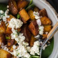 Smoked Paprika Potato Spinach Salad with Homemade Blue Cheese | @naturallyella