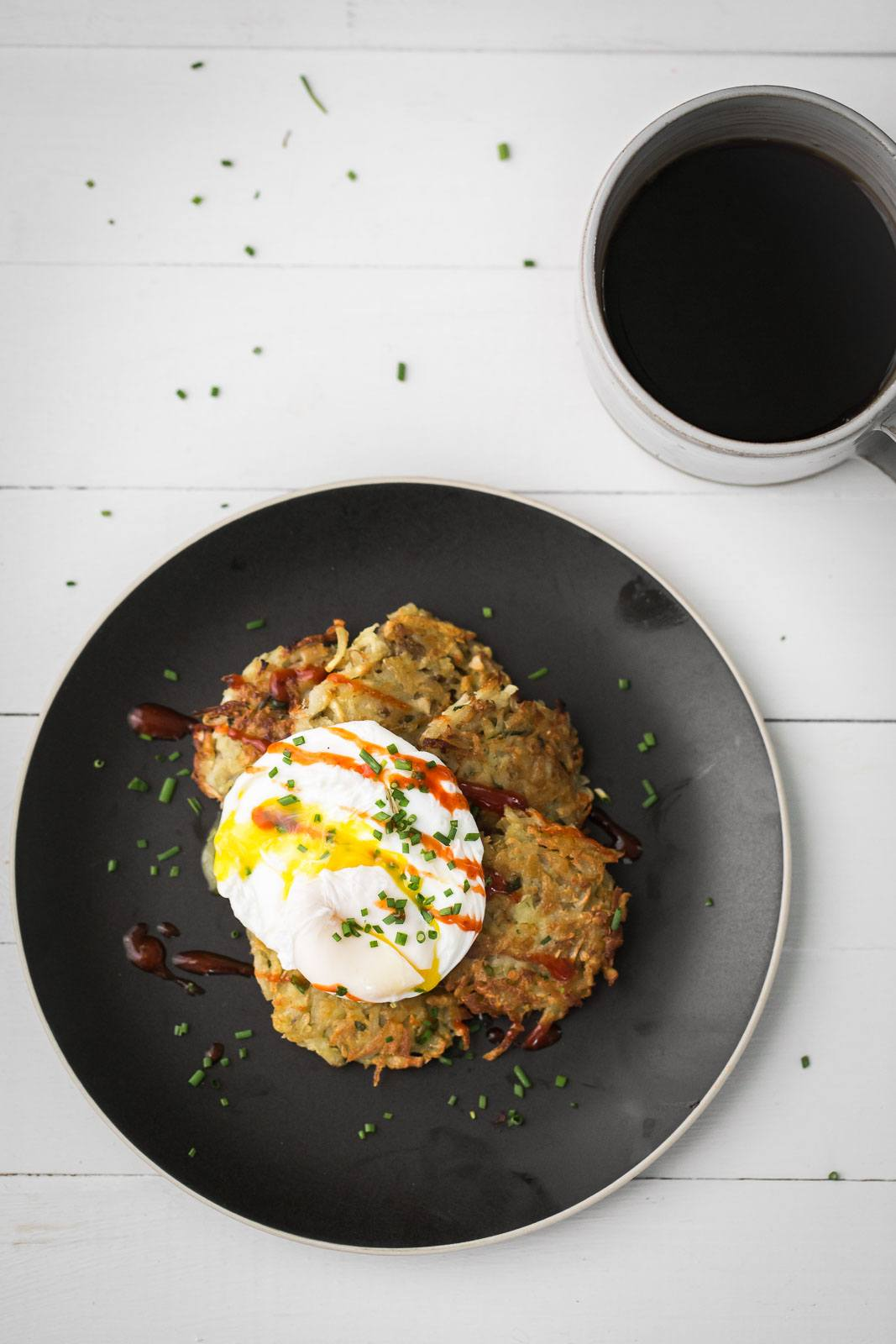 Parsnip and Sunchoke Latkes with Poached Eggs | Naturally Ella