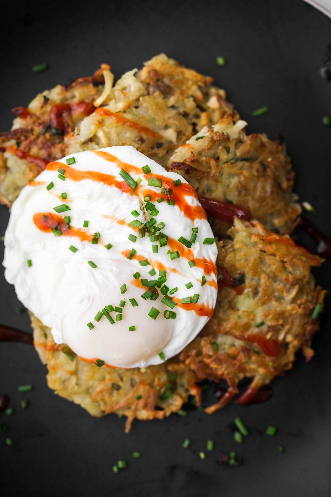 Sunchoke Latkes with Poached Eggs | Naturally Ella