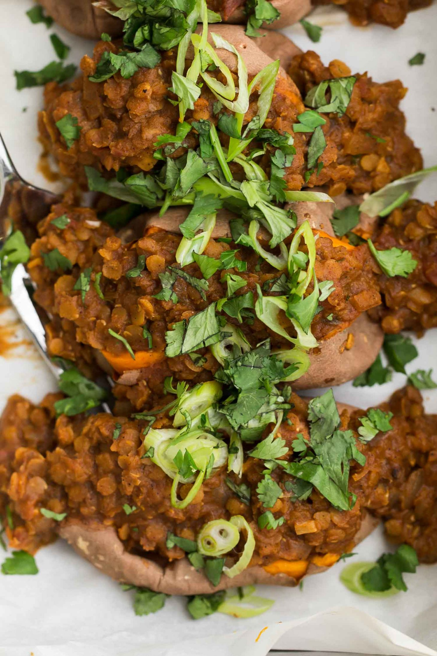 Chili Lentils over Sweet Potatoes with Cilantro | @naturallyella