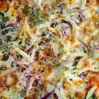 Spinach Fennel Pizza with Red Onions | @naturallyella