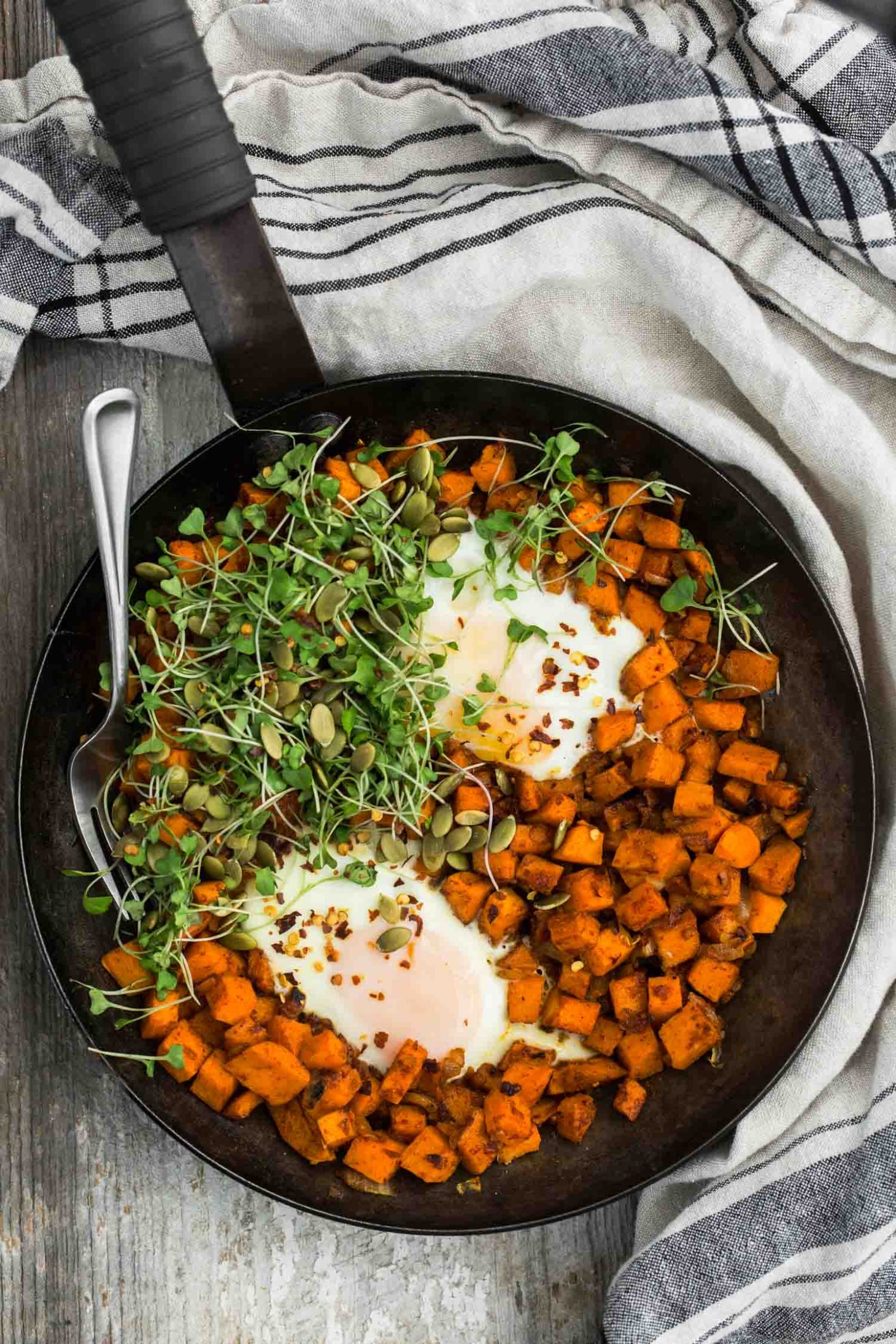 Sweet Potato Hash Egg Skillet | @naturallyella