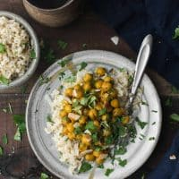 Turmeric Chickpeas with Brown Rice