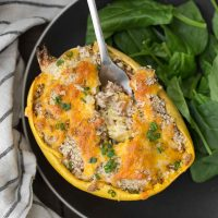 Twice Baked Spaghetti Squash with Spelt | @naturallyella