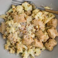 White Bean Gnocchi with Cauliflower and Cream Sauce