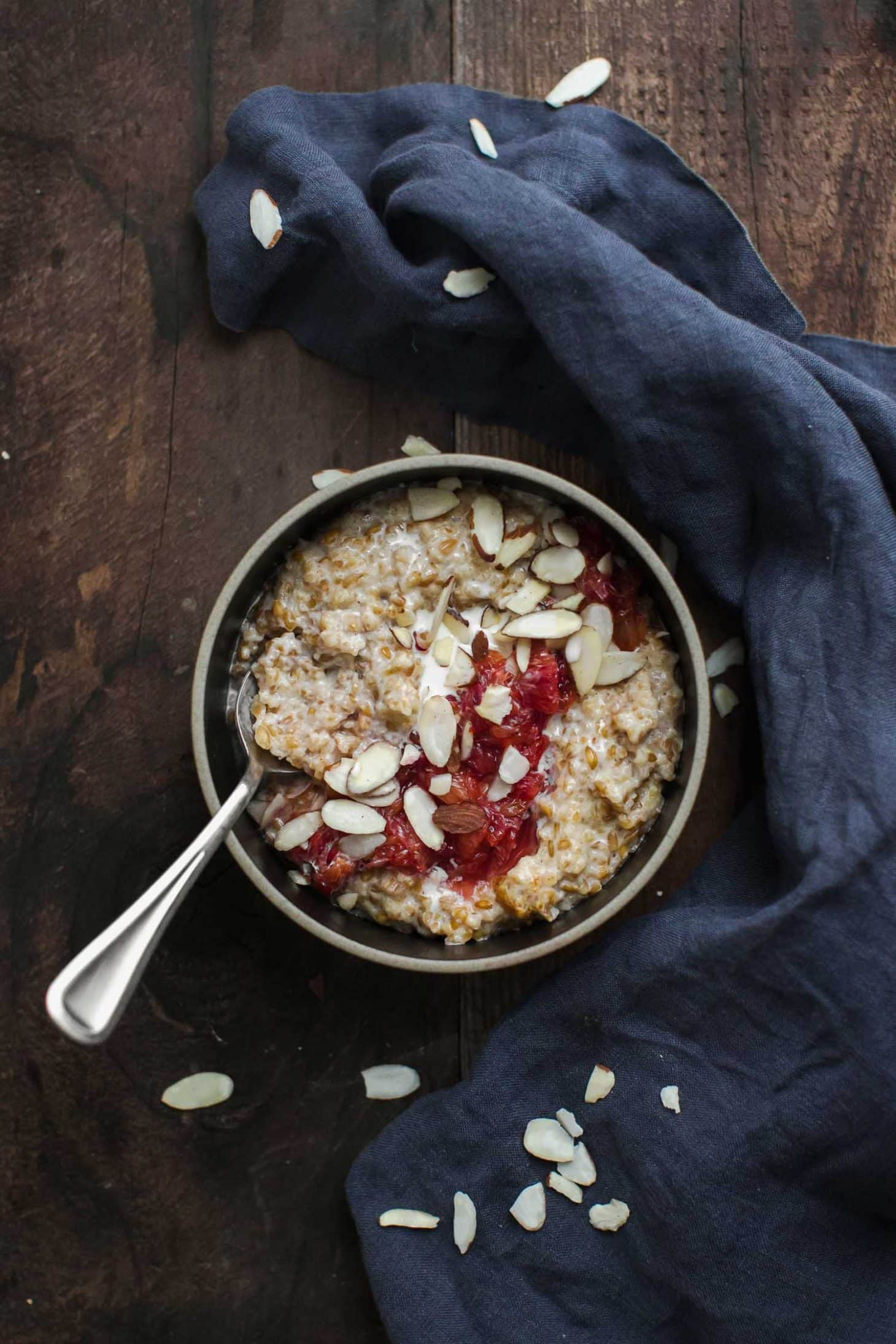 Cracked Einkorn Porridge with Stewed Blood Oranges and Almonds | Naturally Ella