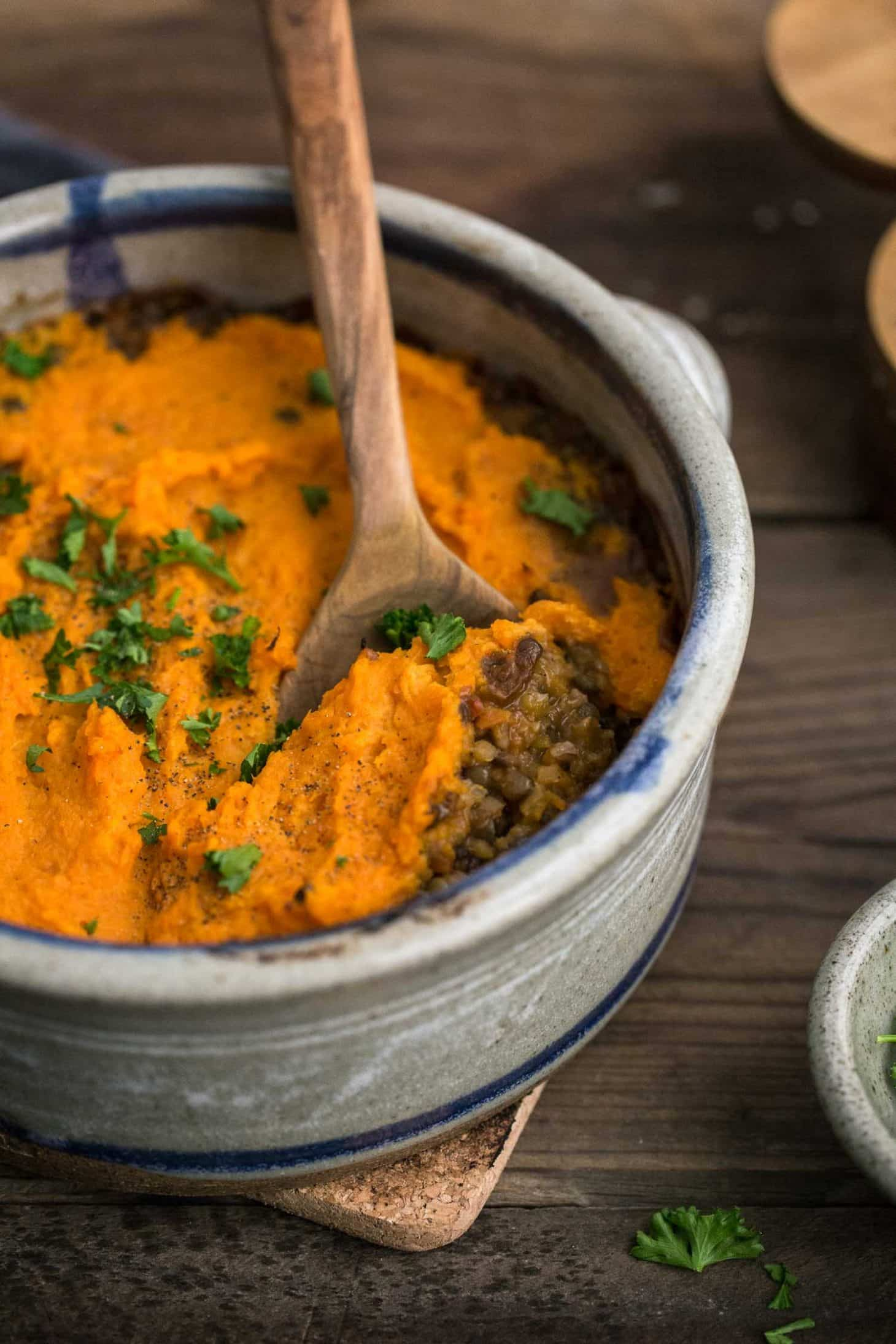 Lentil Shepherd's Pie with Sweet Potatoes and Bulgur | @naturallyella
