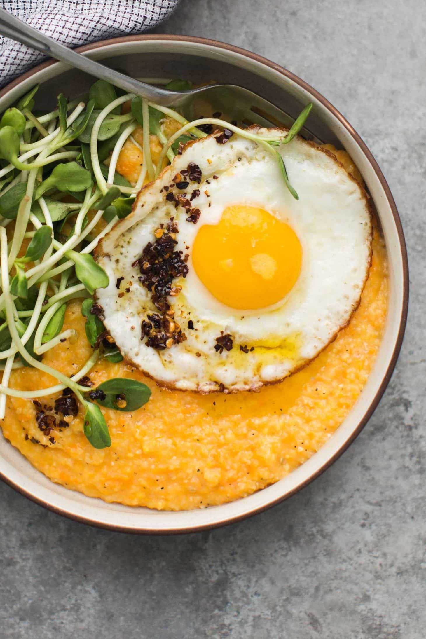 Sweet Potato Polenta with Fried Eggs