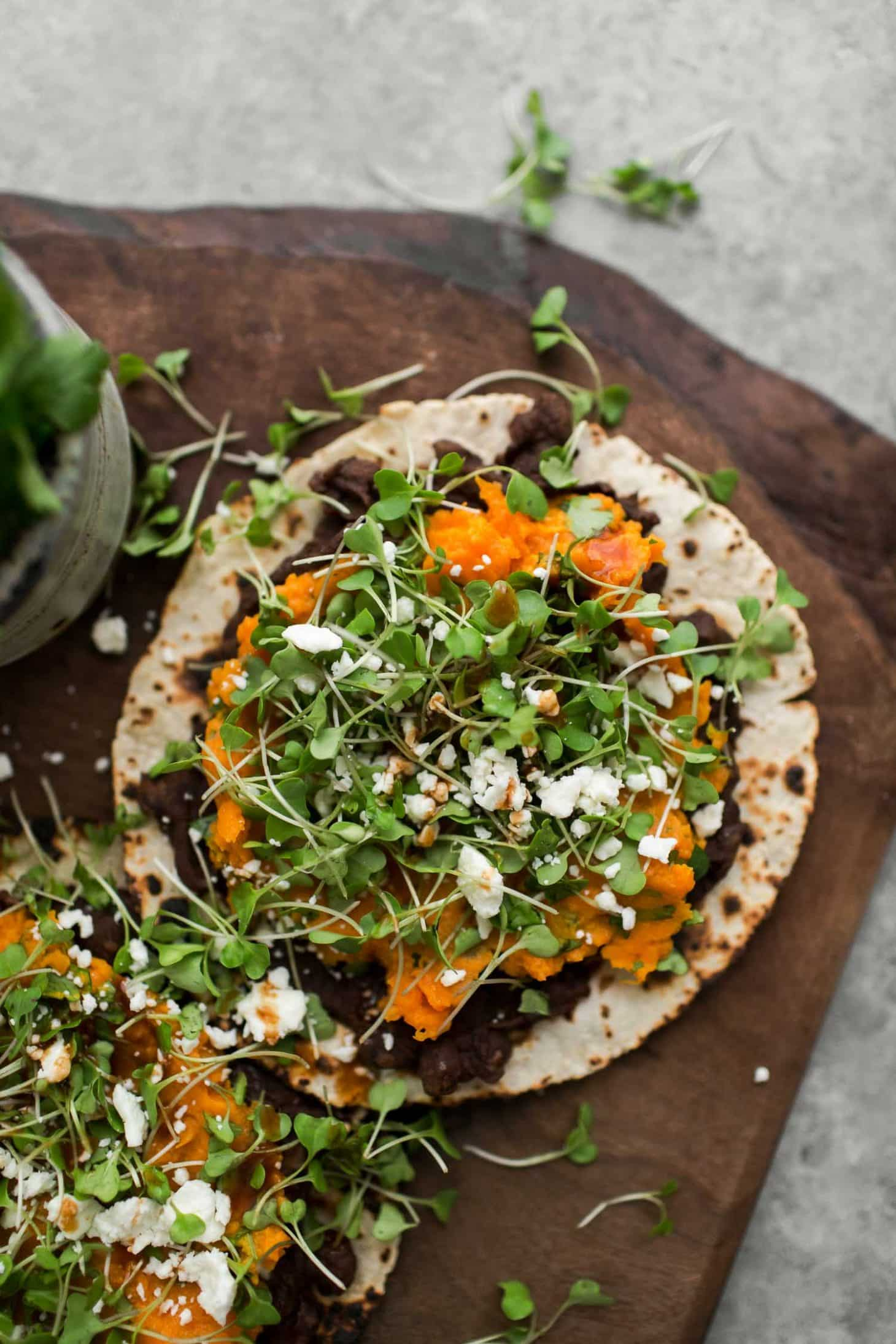 Cilantro Sweet Potato Tostadas with Mashed Black Beans | Naturally Ella