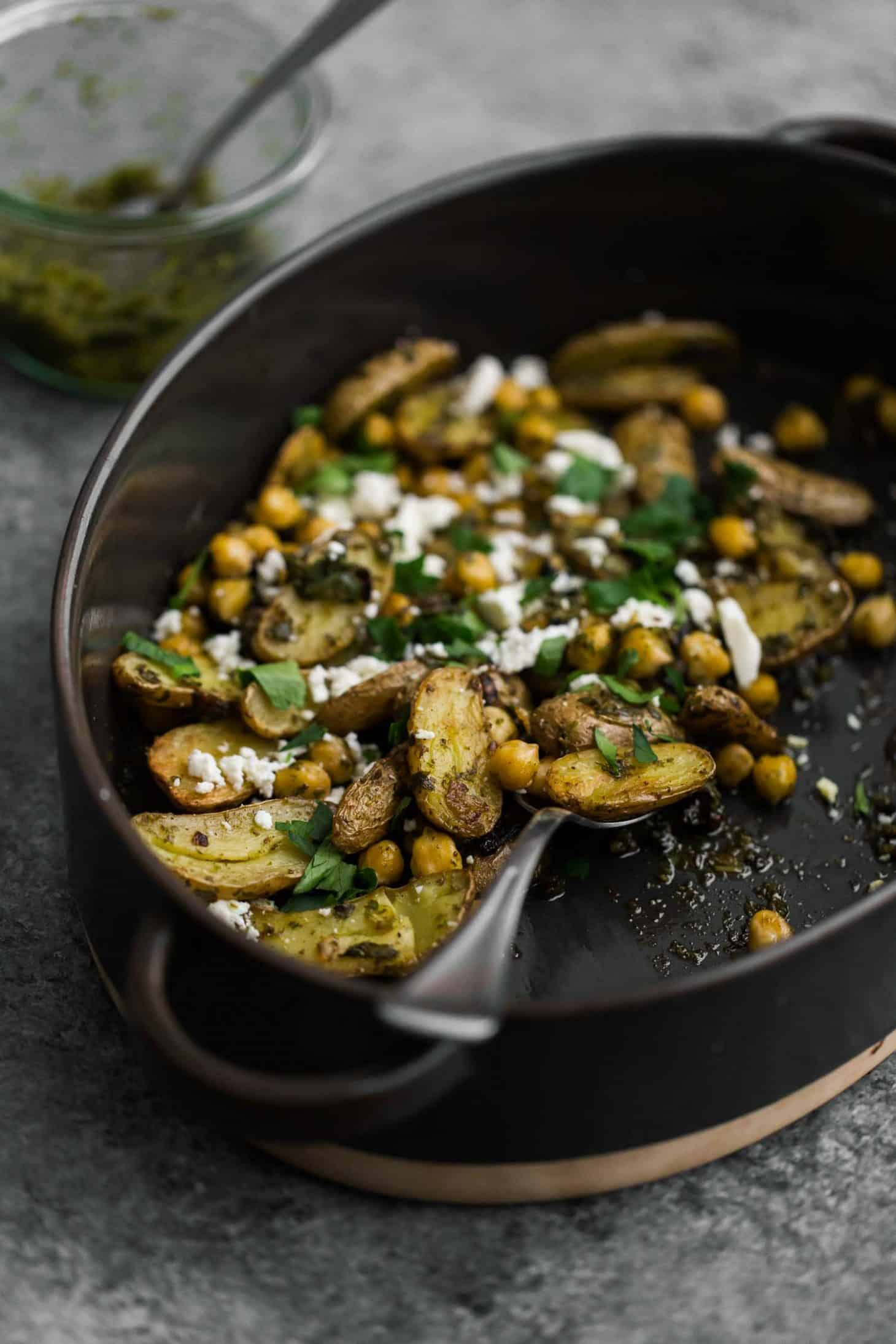 Roasted Potatoes and Chickpeas with Green Harissa