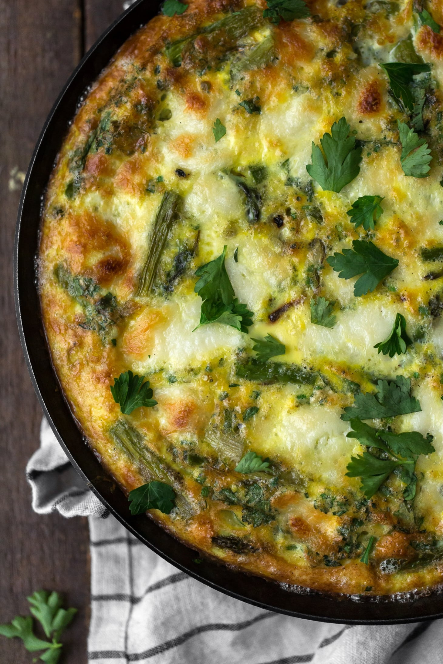 Herb Shallot Asparagus Frittata with Mozzarella | Naturally Ella