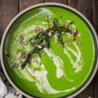 Spinach Roasted Asparagus Soup with Lemon Sunflower Cream | Naturally Ella