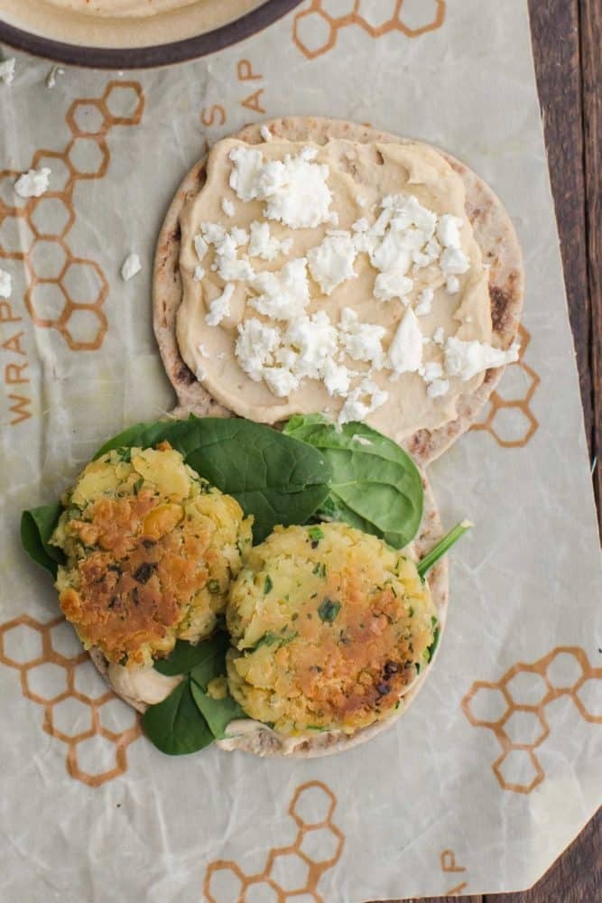 Chickpea Fritter Sandwich with Hummus | Naturally Ella