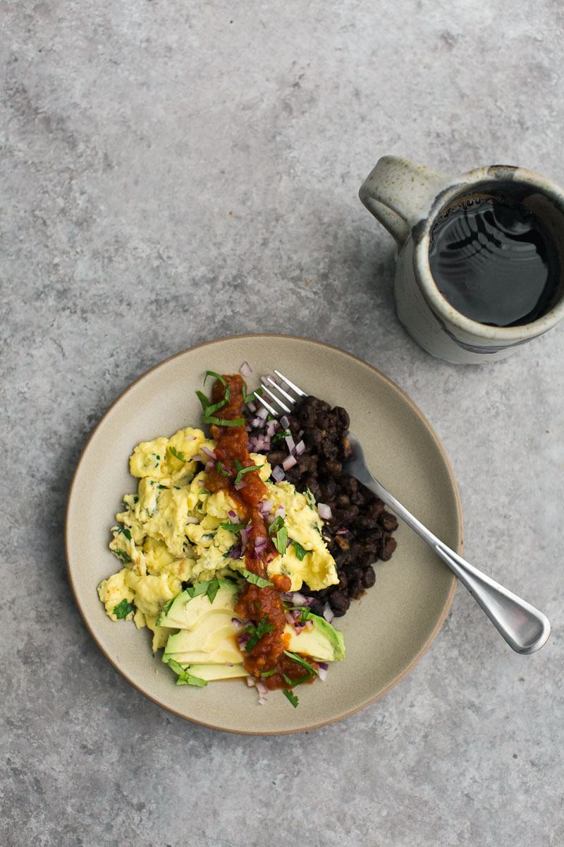 Cilantro Scramble with Spiced Black Beans and Avocado | Naturally Ella