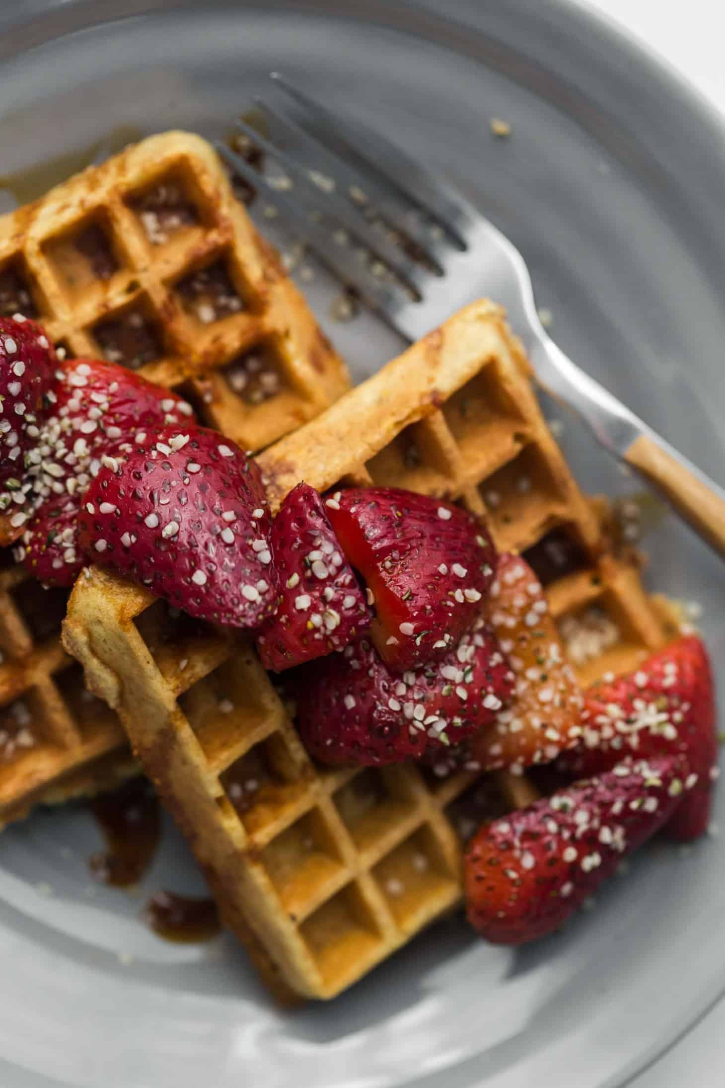 Gluten-Free Oat Cornmeal Waffles with Sorghum Strawberries | Naturally Ella