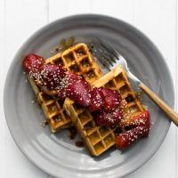 Gluten-Free Cornmeal Waffles with Sorghum Strawberries