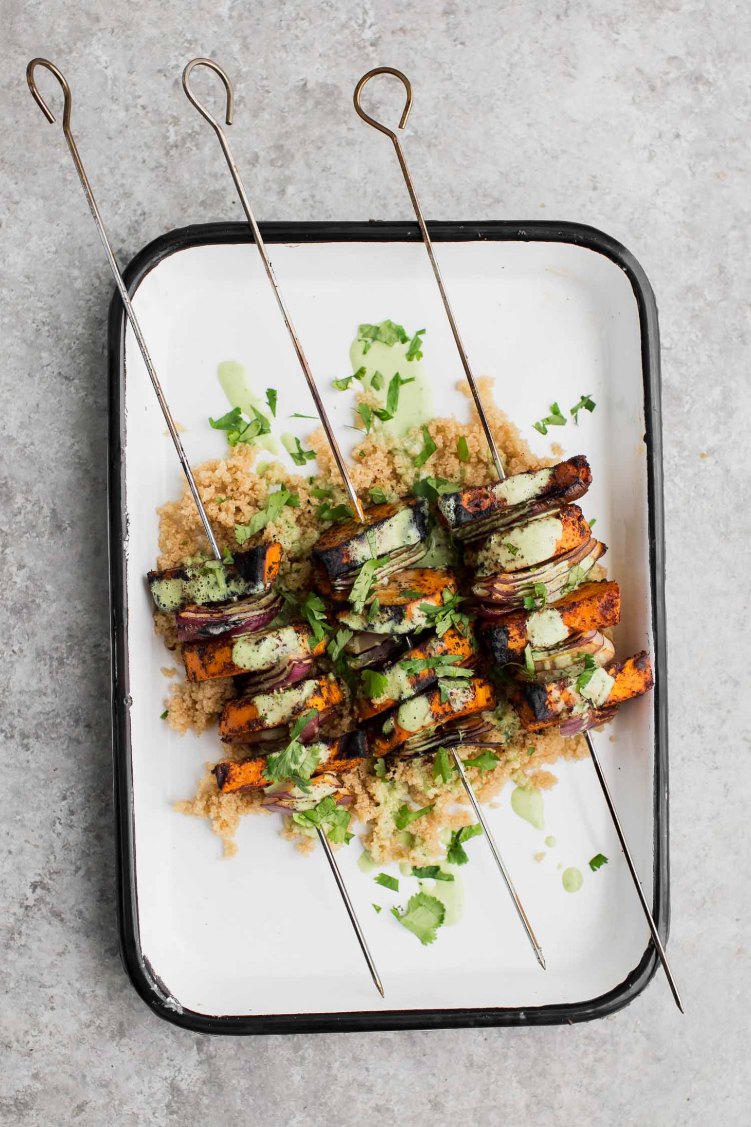 Spiced Sweet Potato Skewers with Cilantro Yogurt Sauce and Amaranth | Naturally Ella
