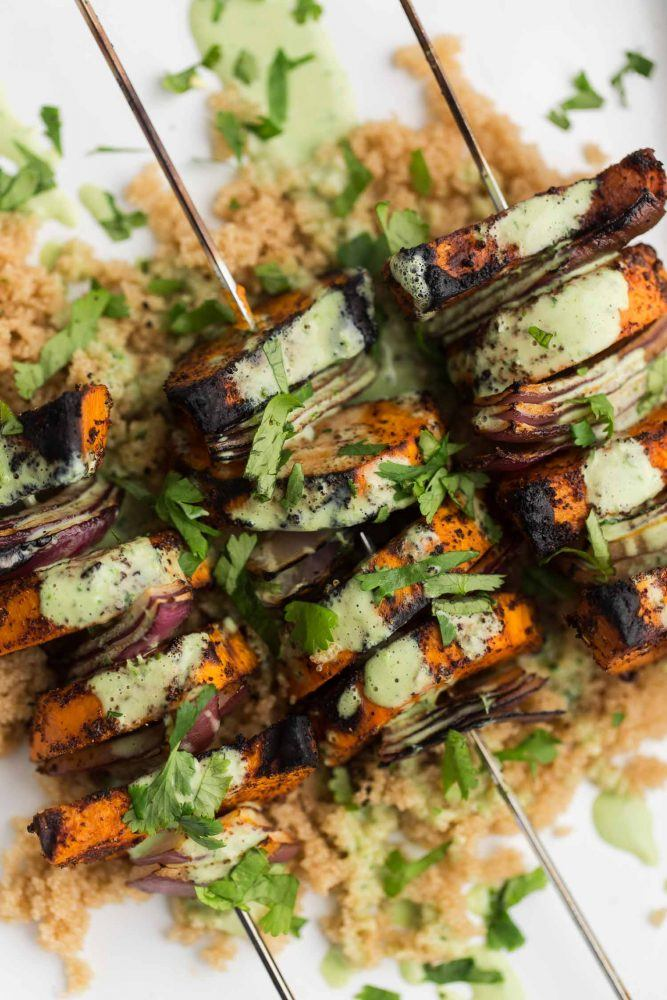 Spiced Sweet Potato Skewers with Cilantro Yogurt Sauce | Naturally Ella