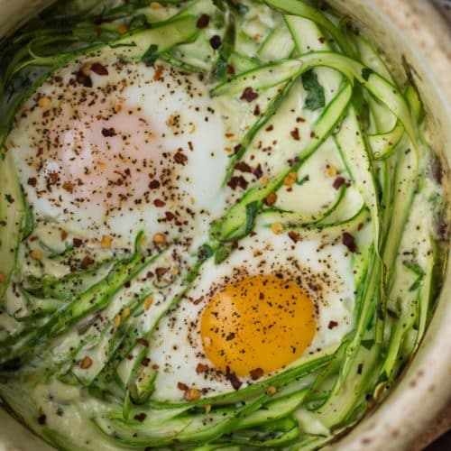Cream Baked Eggs with Asparagus | Naturally Ella