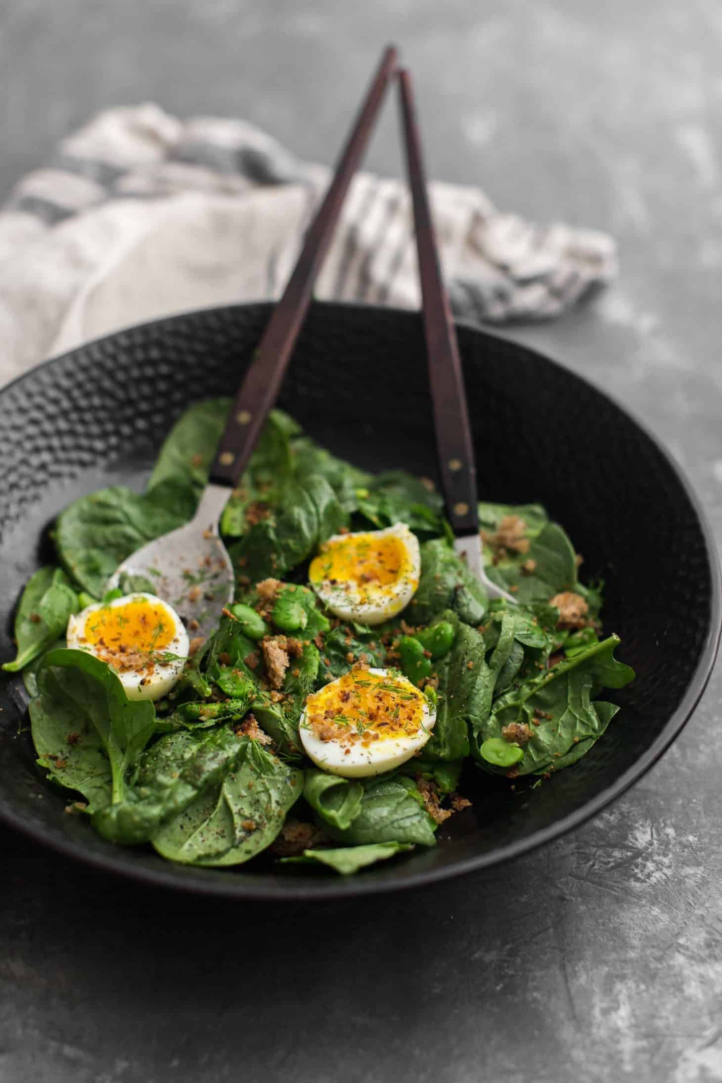 Buttered Fava Bean Salad with Soft-Boiled Eggs and Rye Breadcrumbs | Naturally Ella