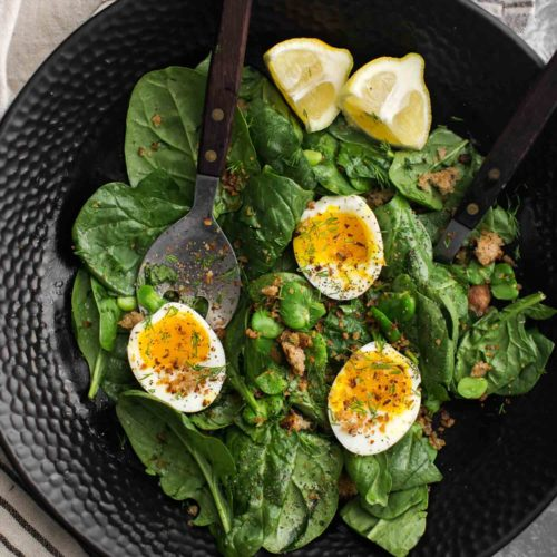 Buttered Fava Bean Salad with Soft-Boiled Eggs | Naturally Ella