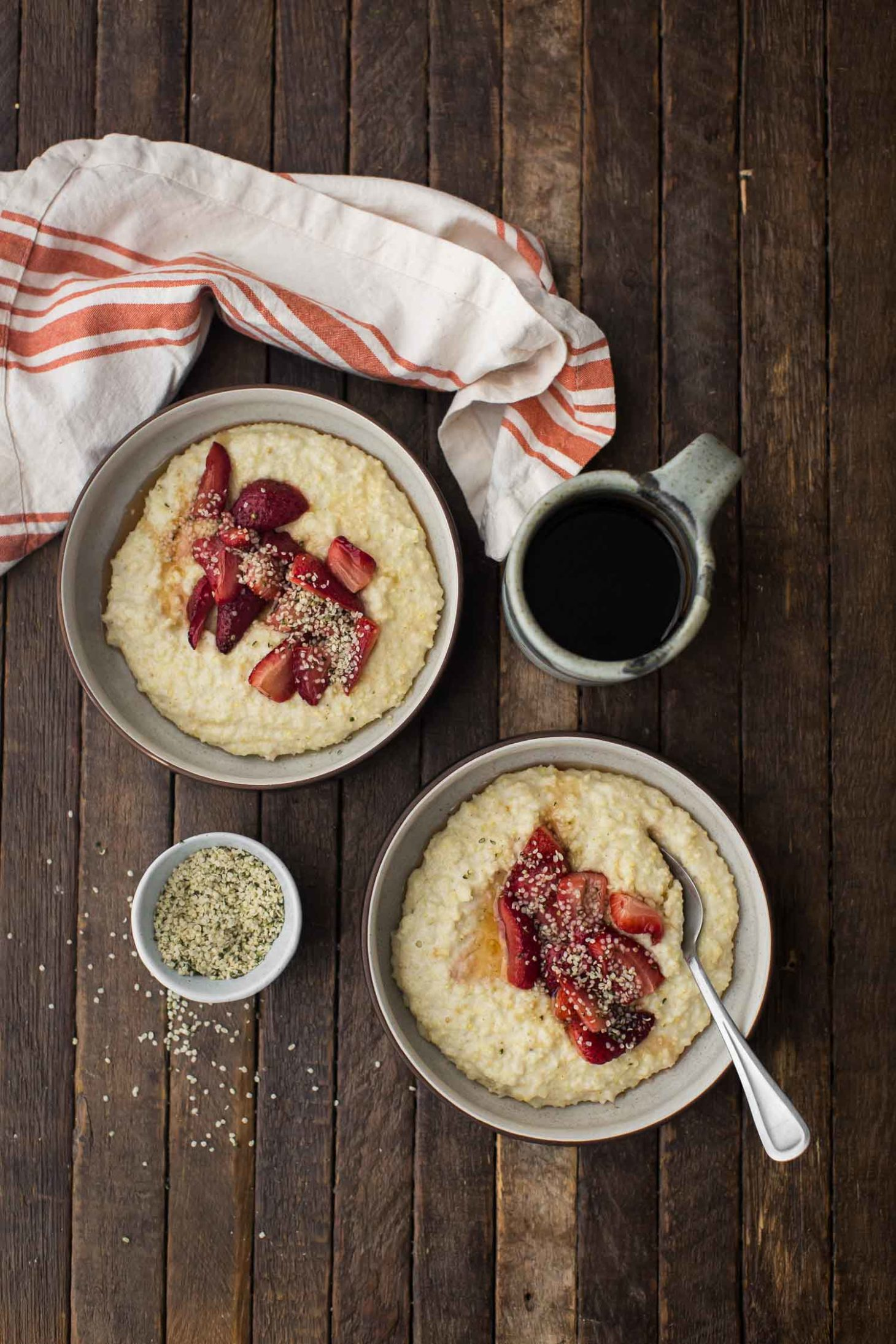 Creamy Millet Porridge with Roasted Strawberries and Hemp Seeds | Naturally Ella