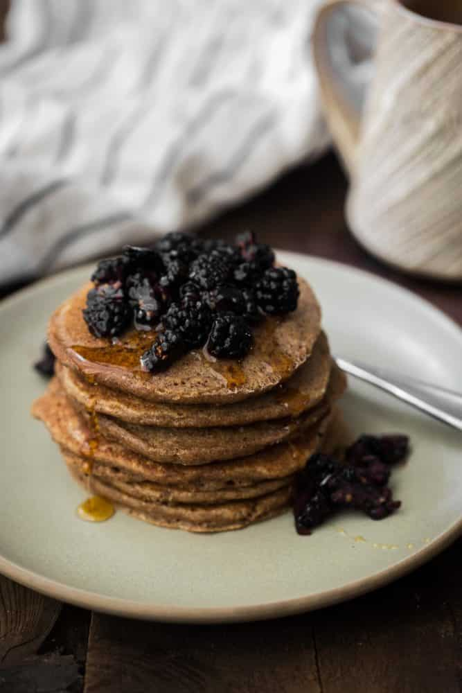 Oat Teff Pancakes with Fresh Berries | Naturally Ella