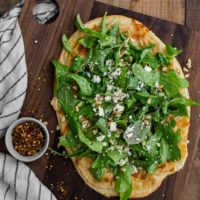 White Bean Pizza with Pine Nut Arugula Salad | Naturally Ella