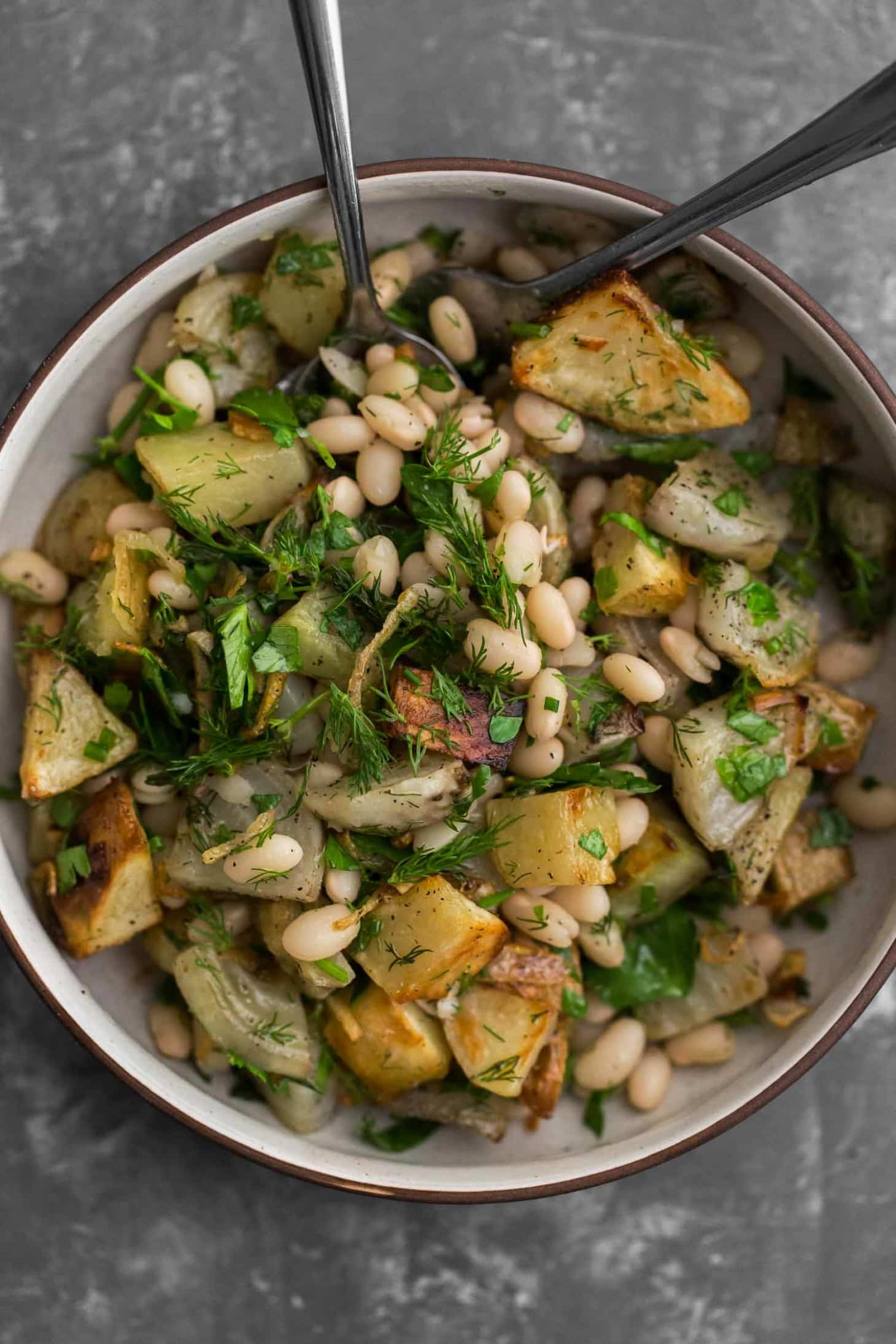 Potato Beet Salad with White Beans and Herbs | Naturally Ella
