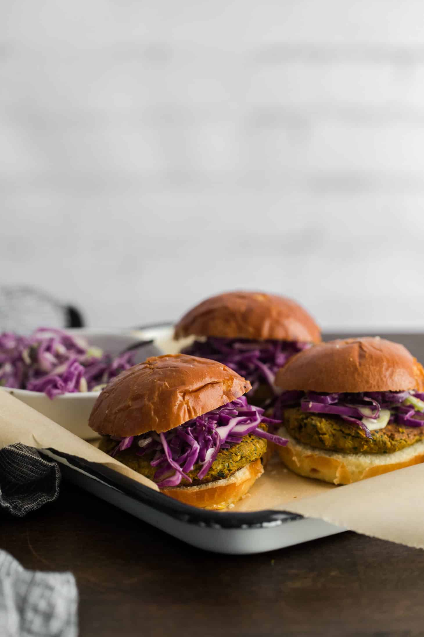 Curry Chickpea Burgers with Coconut Cabbage Slaw | Naturally Ella