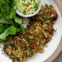 Kohlrabi Fritters with Garlic Herb Cashew Cream Sauce from Dishing Up the Dirt