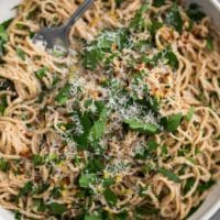 Spelt Spaghetti with Parsley and Garlic Oil