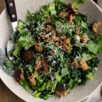 Tahini Kale Caesar Salad with Whole-Grain Croutons