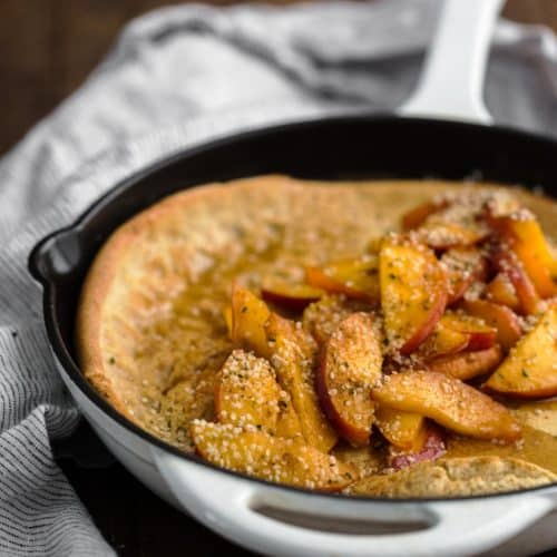 Multigrain Dutch Baby with Fresh Peaches | Naturally Ella