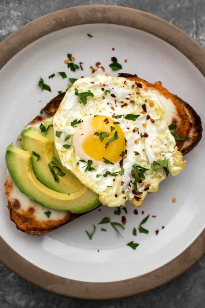 Romesco Toast with Fried Egg and Avocado | Naturally Ella