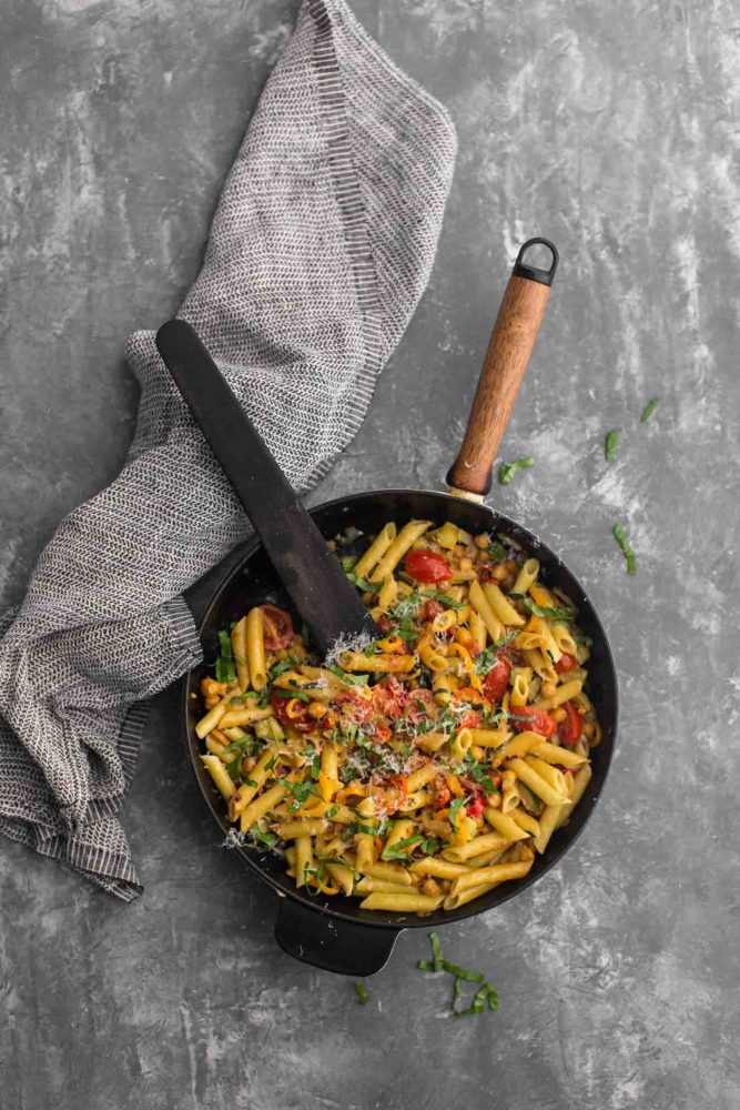 Summer Vegetable Pasta with Chickpeas and Parmesan | Naturally Ella