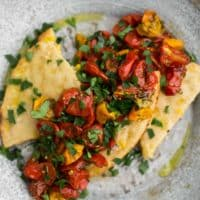Za'atar Tomatoes with Sweet Corn Bread