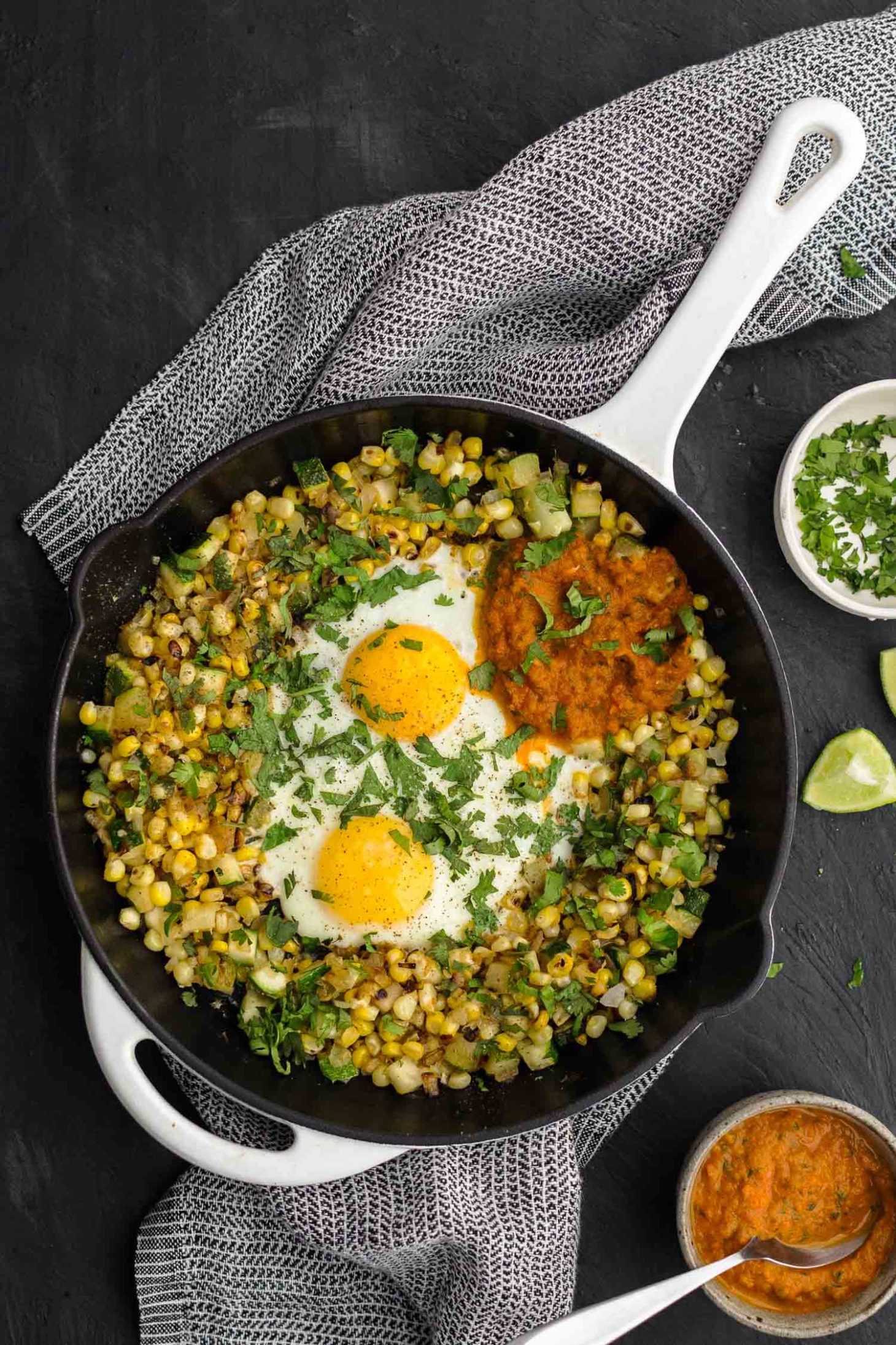 Zucchini Sweet Corn Hash Egg Skillet | Naturally Ella