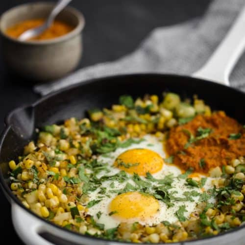 Zucchini Sweet Corn Hash Egg Skillet with Roasted Tomato Salsa | Naturally Ella