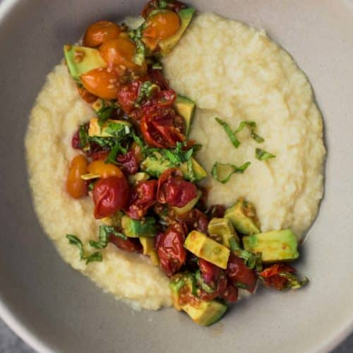 Sweet Corn Polenta with Roasted Tomatoes and Avocado | Naturally Ella