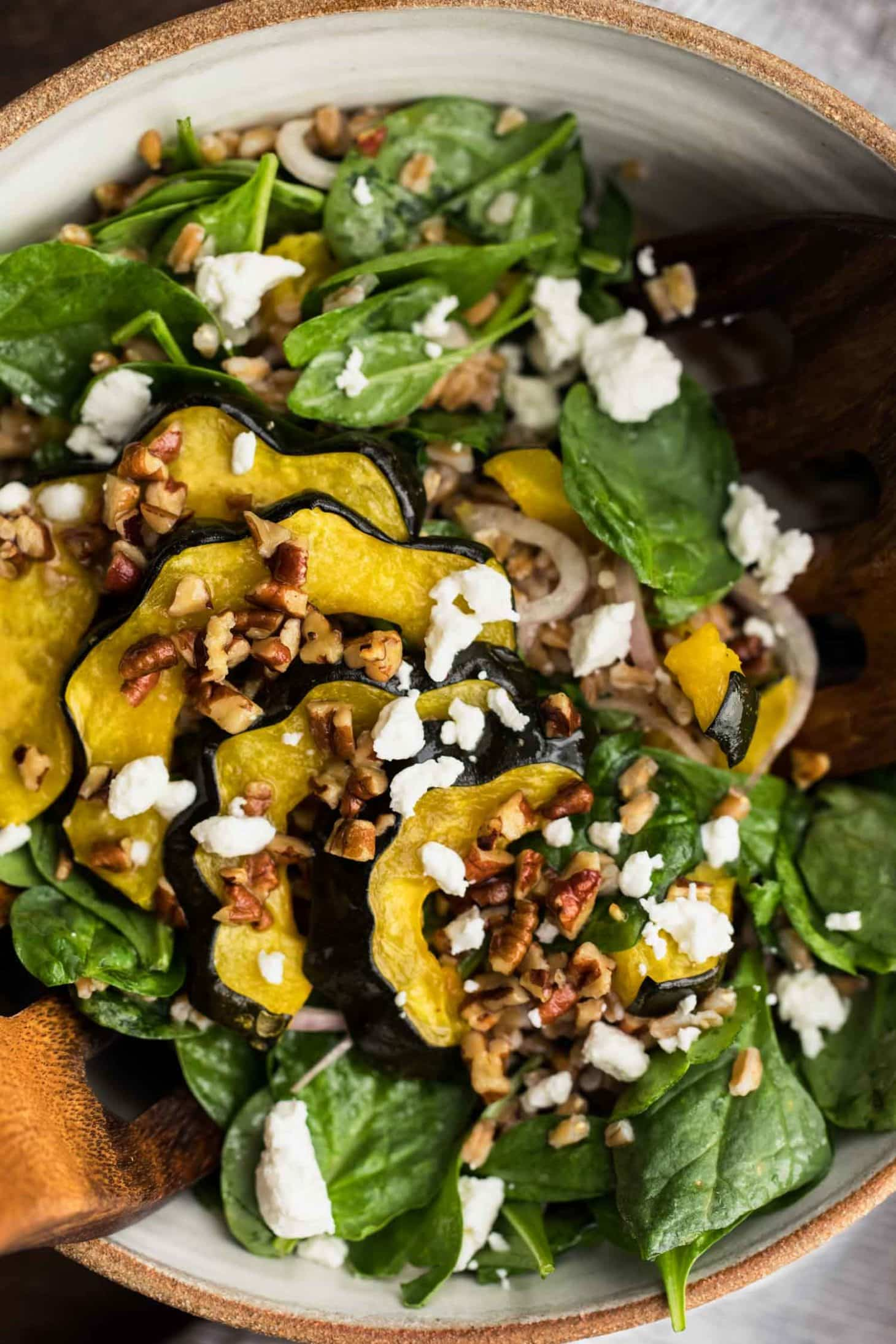 Roasted Acorn Squash Salad with Pecan Vinaigrette | Naturally Ella