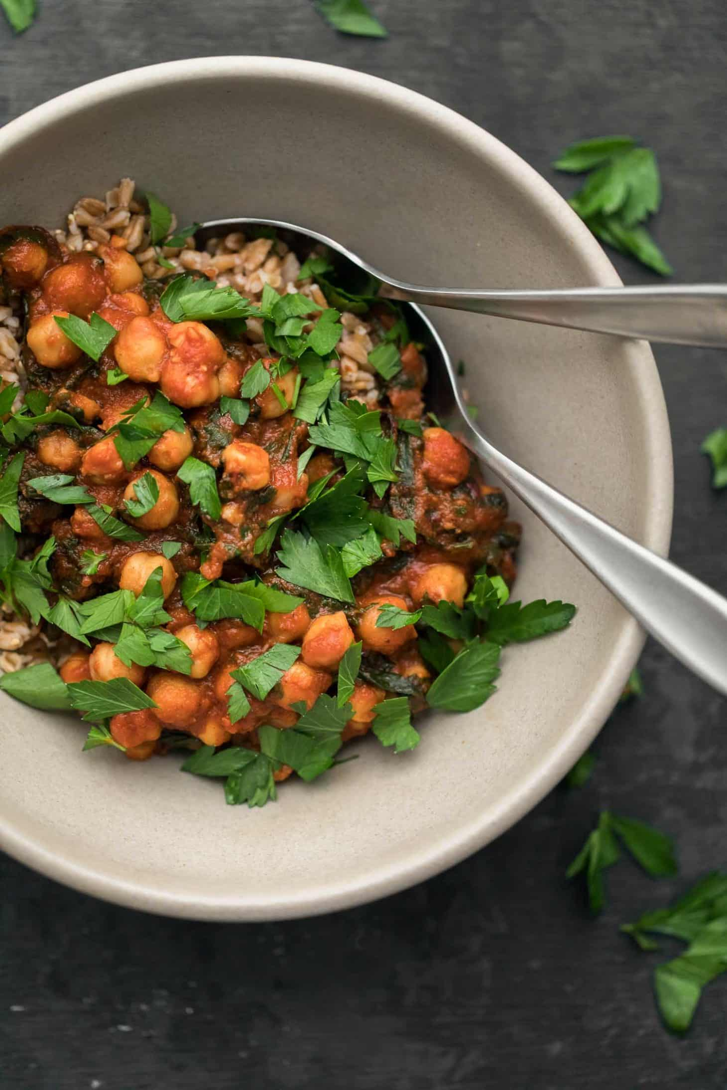 Berbere Chickpeas and Chard with Farro | Naturally Ella