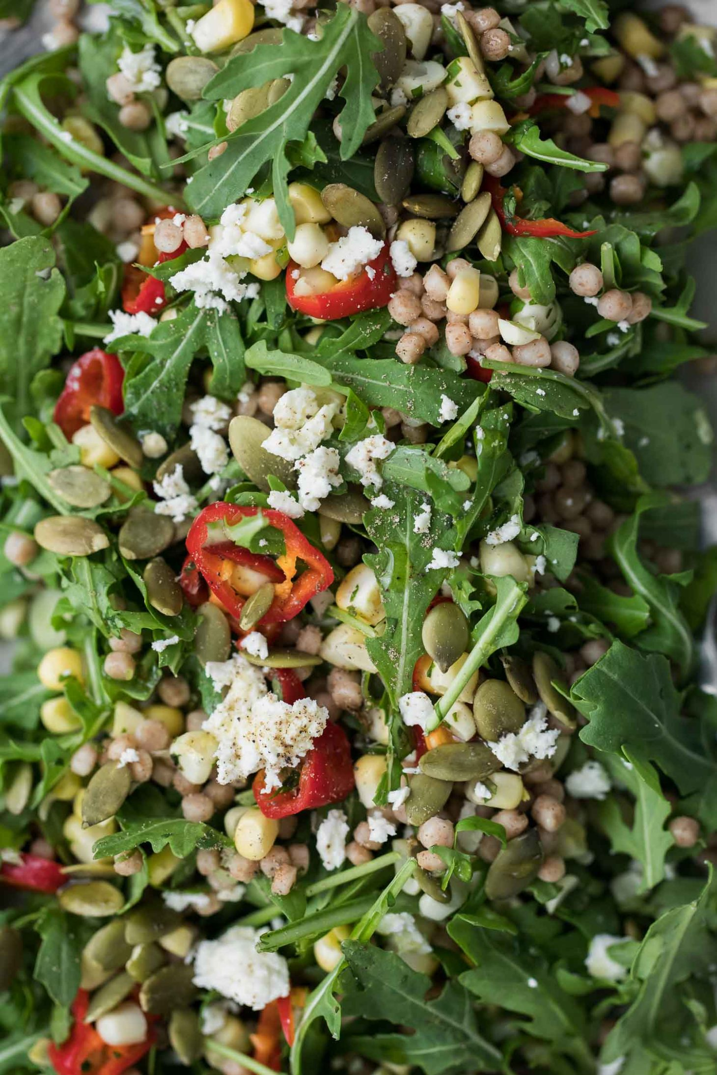 Sweet Corn Couscous Salad with Arugula and Pickled Peppers