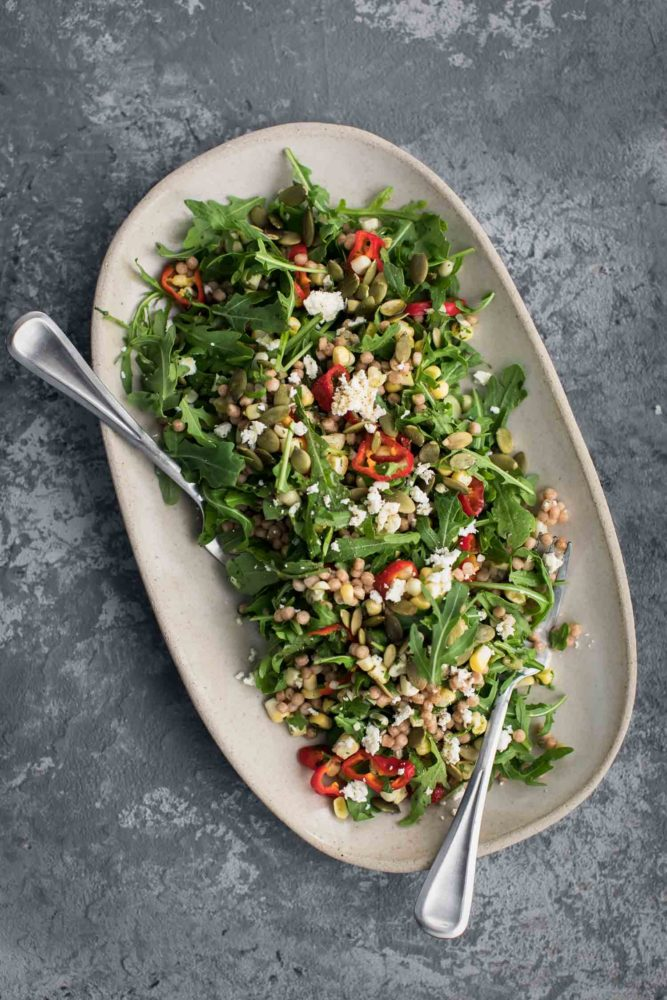 Sweet Corn Couscous Salad with Arugula | Naturally Ella