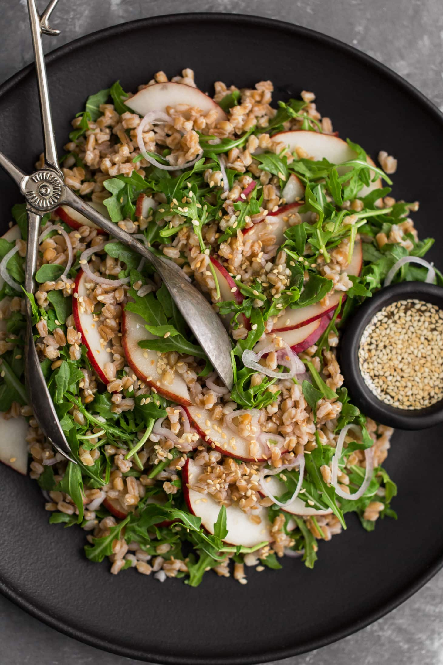Farro Pear Salad with Ginger-Sesame Dressing | Naturally Ella