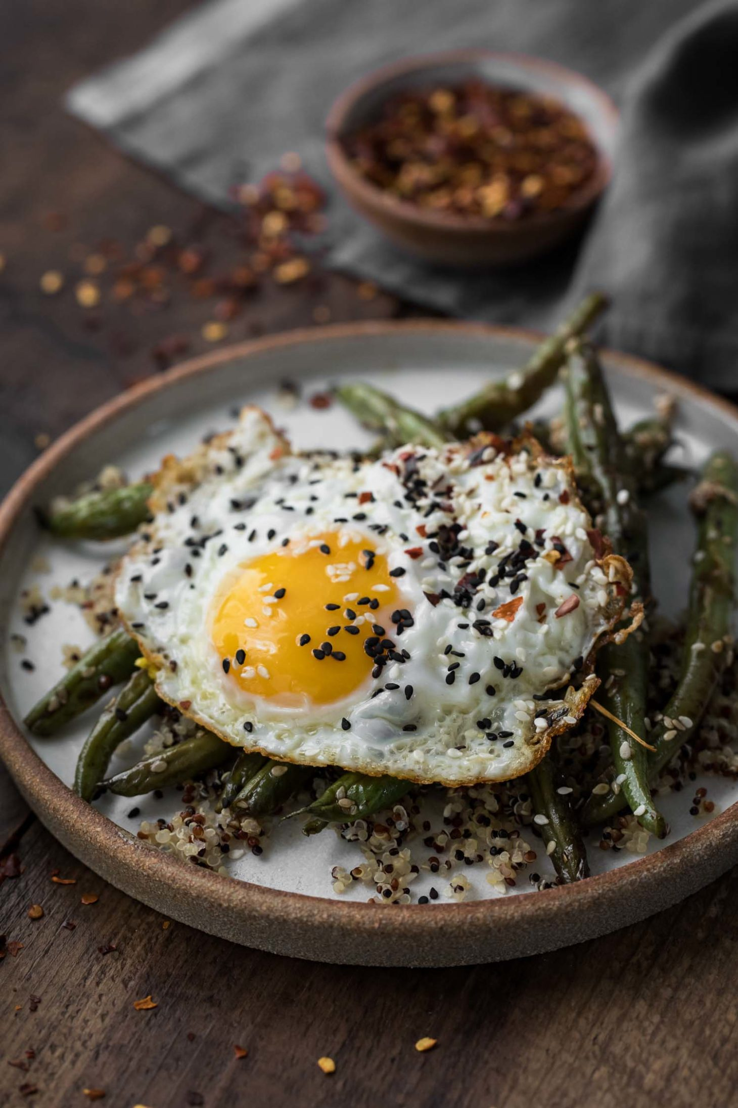 Sesame Green Beans with Quinoa and Eggs | Naturally Ella
