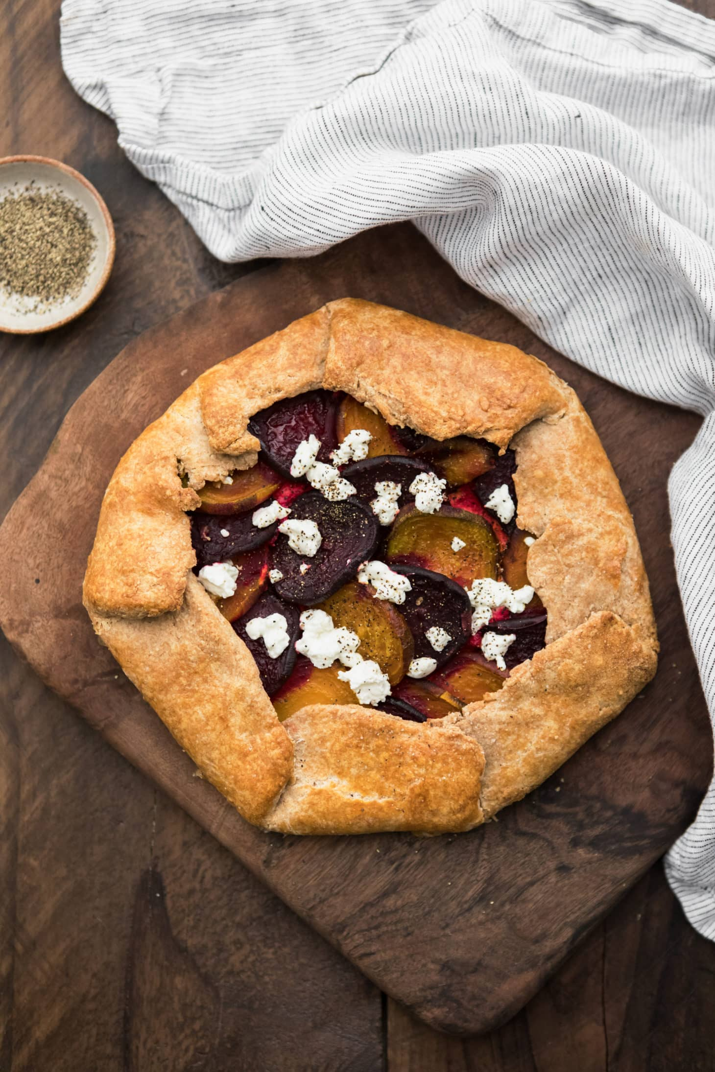 Roasted Beet Galette with Ricotta and Goat Cheese | Naturally Ella