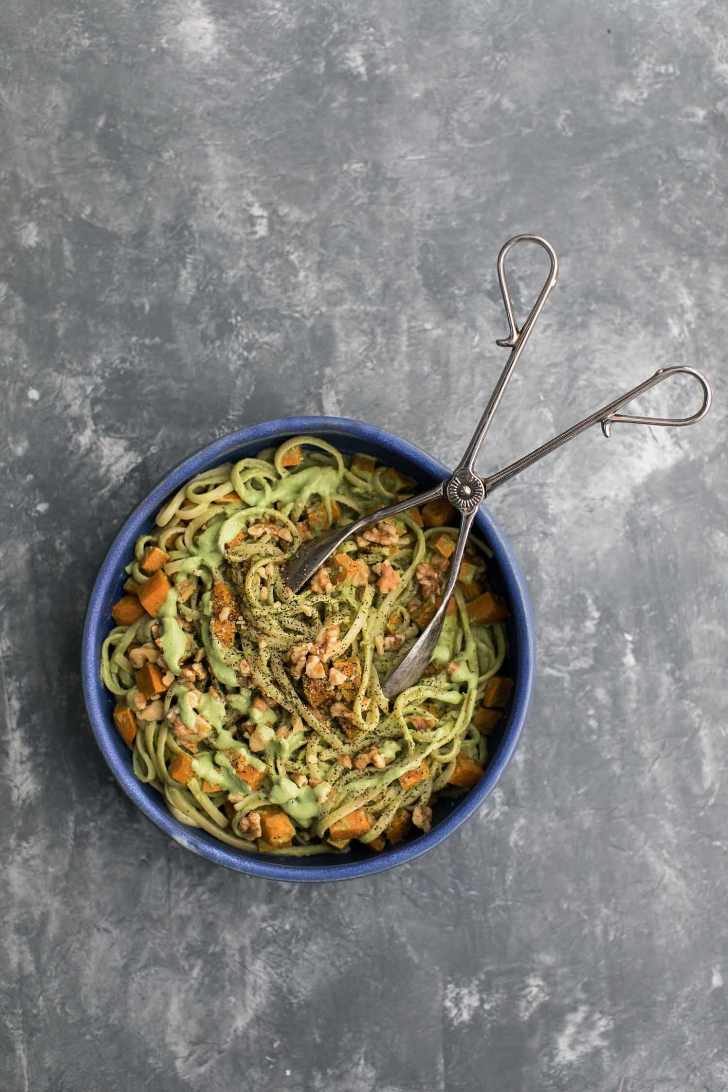 Sweet Potato Pasta with Walnut-Sage Spinach Sauce