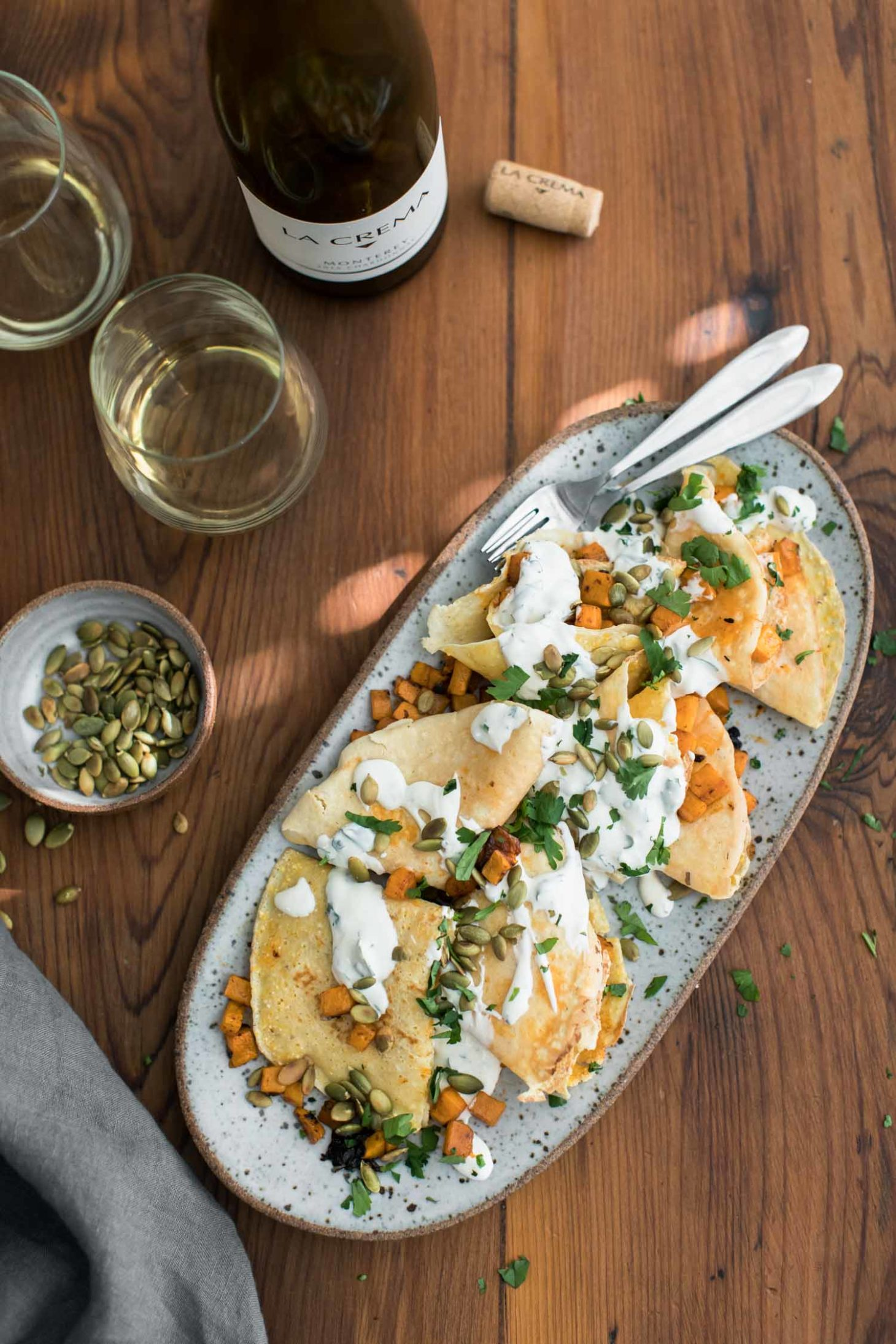 Chipotle Butternut Squash Crepes with Cilantro Crema | Naturally Ella