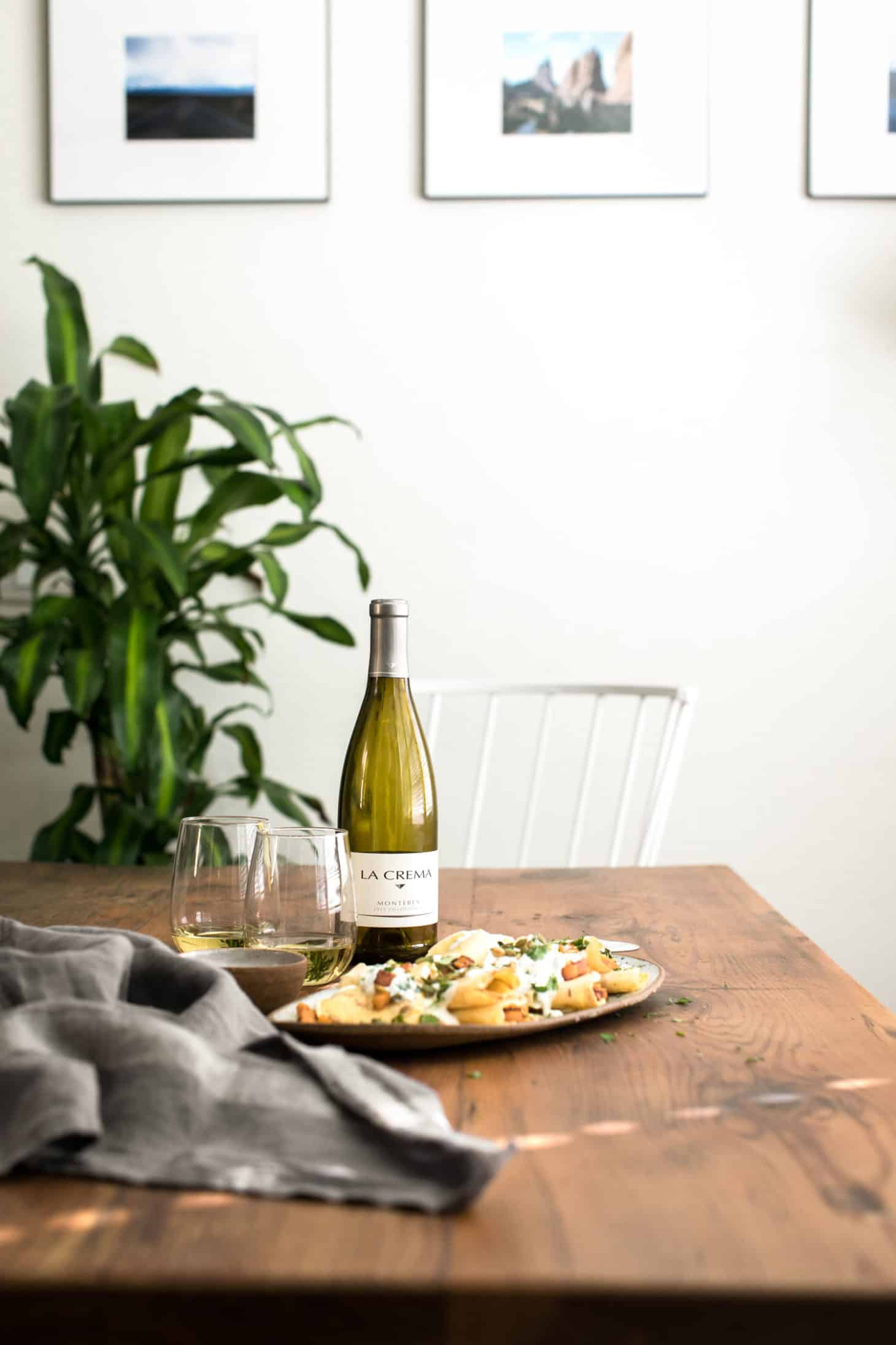 Chipotle Butternut Squash Crepes with Cilantro Crema paired with La Crema Chardonnay | Naturally Ella